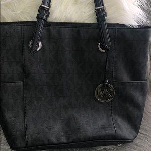 Michael Kors black leather logo purse